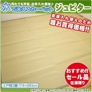 クーポン対象 ポリプロピレン カーペット 「ジュピター」 江戸間3畳 約174×261cm ラグ 洗える 撥水 ビニールカーペット 軽量 シンプル|i-s