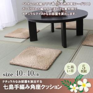 七島い草クッション 角形 5枚セット 「シーグラス」 40×40cm シートクッション クッション 座布団 アジアン 雑貨 厚さ1cm (ib) i-s