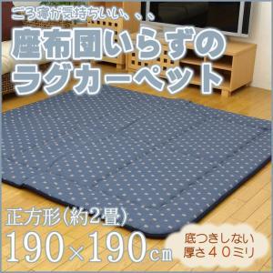 ふっくら敷き ラグ カーペット 2畳 正方形 「筑後(ちくご)」 約190×190cm 極厚40ミリ 厚手 ラグマット ふっくら ボリューム 敷き インテリア|i-s
