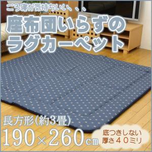 ふっくら敷き ラグ カーペット 3畳 長方形 「筑後(ちくご)」 約190×260cm 極厚40ミリ 厚手 ラグマット ふっくら ボリューム 敷き インテリア|i-s