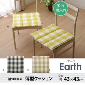 シートクッション 薄型 椅子 「アース タタキクッション」 約43×43cm リビング チェック柄 シンプル かわいい 洗える オールシーズン|i-s
