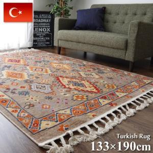 ウィルトンカーペット トルコ製 手織り風 キリム柄ウィルトンラグカーペット 約133×190cm ウィルトン織り ルームラグ アクセント 輸入カーペット|i-s