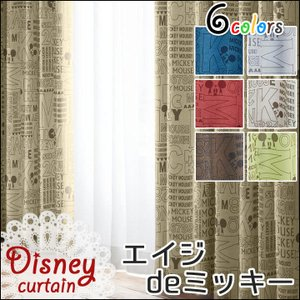 ドレープカーテン 2枚組 ディズニー 厚地カーテン 「エイジdeミッキー」uni(既製品) 幅100×丈135cm ミッキーマウス 厚地 カーテン 英字 i-s