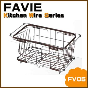 水切りカゴ 水切りラック シンクバスケット スライド式 「FV05」  水切りかご  水切りカゴ 食器 皿立 ファビエ テンマ 天馬|i-s