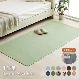 ホットカーペット 1畳 「WSセリゼ」 約92×185cm 1畳用 セット 抗菌 防臭 無地 フランネル 長方形|i-s