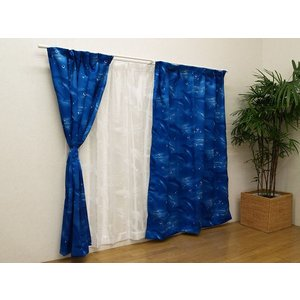 カーテン 1枚 ジュニア用 遮光 プリント 「イルカ」 幅150×高さ178/185/190/195...