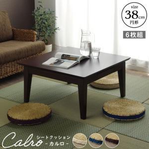 シーグラスクッション カルロ 同色5枚セット 直径38cm丸×高さ5cm シーグラス シートクッション 丸座布団 和風 客席|i-s