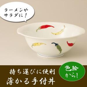 どんぶり 丼 ラーメン鉢 ラーメン碗 「薄かる手付丼」 色絵からし 有田焼|i-s