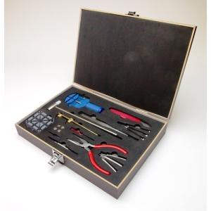 豪華20点セット 裏蓋オープナー/ボタン電池4個付!木製ケース入り 腕時計用修理工具 一式 バンド調整 自宅で簡単メンテナンス 20P ◇ 時計工具 20点セット|i-shop777