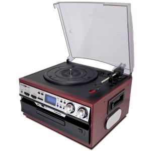 レコード/カセットテープ/CD/ラジオ対応レコードプレーヤー SD・USB直接録音 スピーカー内蔵 オーディオシステム 再生 訳あり品  限定セール ◇ ▼MA-17CD/21|i-shop777|06