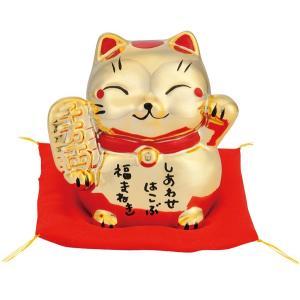 縁起のよい金色の招き猫の貯金箱 Gold Beckoning Cat 右手に小判♪ 人を招く左手を上げてます♪ しあわせをはこぶ 幸運バンク ◇ 金色の招き猫|i-shop777|02