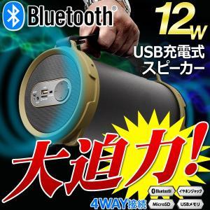 ◆サイズも音楽もダイナミック!◆ バッテリー内蔵!Bluetooth ワイヤレススピーカー 高音質 12W出力 迫力サウンド 4WAY接続 USB充電式 ◇ ワイルドチューンズ