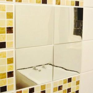 壁が鏡に大変身 ミラーウォール ステッカー 16枚入 貼るだけ簡単設置 軽い&割れない どこでも 鏡シール 16P 好きな形にカットOK 工事不要 ◇ 鏡ステッカー|i-shop777|07