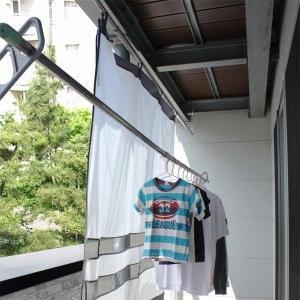 ベランダカーテン 180cm×158cm 日差しカット 強風/砂ほこり/雨を防ぐ プライバシー保護に...