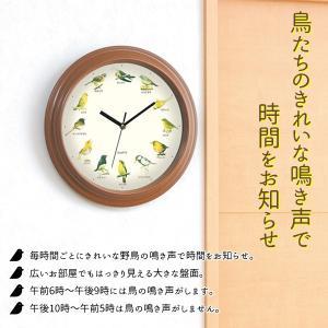 壁掛け時計 おしゃれ 鳥のキレイな鳴き声で時間をお知らせ インテリア時計 12種類バードクロック 小さな野鳥の大きな壁掛け時計 ビッグサイズ ◇ 野鳥の掛け時計|i-shop777|02