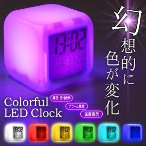 LED イルミネーション 多機能デジタルクロック 幻想的 7色にカラフル点灯 アラーム/時刻/温度/曜日/日付表示 ライト付 目覚まし時計 おしゃれ ◇ 光るクロックRS|i-shop777|06