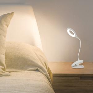 LED クリップライト 置いて挟んで使える 2WAY電源 インテリアライト 3段階調光 360度フレキシブル 間接照明 USB/電池 便利 ケーブル付 寝室 ◇ クリップライトA