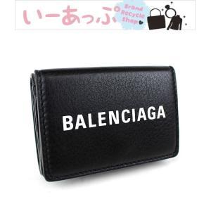 バレンシアガ ミニ財布 財布 三つ折り財布 黒 ペーパーミニウォレット 美品 k708
