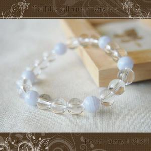 パワーストーン  ブレスレット 天然石 ・ 癒し 安眠 リラックス効果 ブルーレース アゲート と 水晶