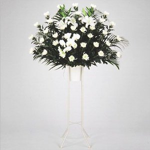 スタンド花・当日配達(葬儀・葬式の供花) 花キューピットのお供え用スタンド1段(白あがり)|i879