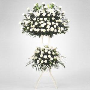 スタンド花・当日配達(葬儀・葬式の供花) 花キューピットのお供え用スタンド2段(白あがり)|i879