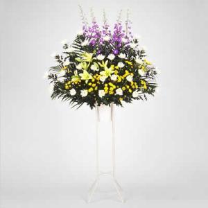 スタンド花・当日配達(葬儀・葬式の供花) 花キューピットのお供え用スタンド1段(色もの)|i879