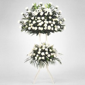 スタンド花・花輪(葬儀・葬式の供花) 花キューピットのお供え用スタンド2段(白あがり)|i879