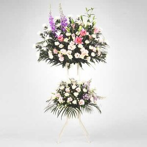 スタンド花・花輪(葬儀・葬式の供花) 花キューピットのお供え用スタンド2段(色もの)|i879