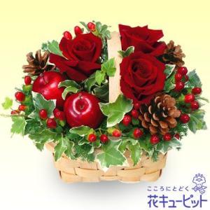 クリスマスフラワー 花キューピットの赤バラのウッドバスケット...