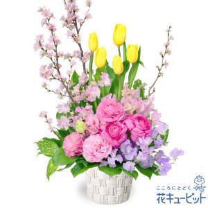 春のお誕生日 花キューピットのチューリップと桜のアレンジメント お祝い 入学 卒業 就職 退職 記念日 i879