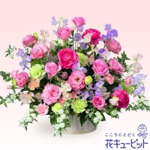 春のお誕生日 花キューピットのバラとスイートピーのアレンジメント(ピンク) お祝い 入学 卒業 就職 退職 記念日|i879