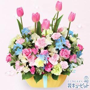 春のお誕生日 花キューピットのチューリップのガーデンアレンジメント お祝い 入学 卒業 就職 退職 記念日 i879
