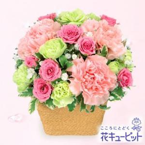 ペット用フラワーギフト・お祝い 花キューピットのピンクアレンジメント 花 ペット お祝い プレゼント|i879