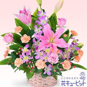 男花・キメ花 花キューピットのピンクユリのアレンジメント|i879