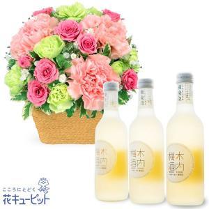 お祝いセットギフト 花キューピットのピンクアレンジメントとしゅわしゅわ木内梅酒3本セット|i879