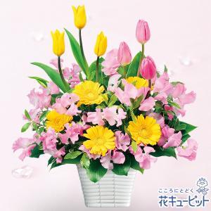 誕生日フラワーギフト 花キューピットの春のバスケットアレンジメント 花 ギフト 誕生日 プレゼント|i879