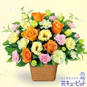 誕生日フラワーギフト 花キューピットのバラとトルコキキョウのアレンジメント 花 ギフト 誕生日 プレゼント|i879