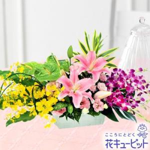 誕生日フラワーギフト 花キューピットのユリとデンファレのアレンジメント 花 ギフト 誕生日 プレゼント|i879