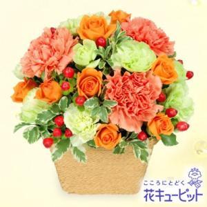 誕生日フラワーギフト 花キューピットのオレンジアレンジメント 花 ギフト 誕生日 プレゼント|i879