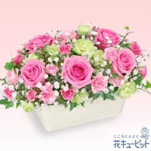 誕生日フラワーギフト 花キューピットのピンクバラのオールラウンドアレンジメント 花 ギフト 誕生日 プレゼント|i879