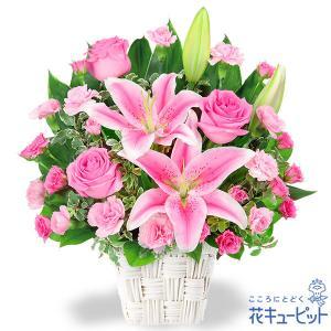 誕生日フラワーギフト 花キューピットのユリとピンクバラのアレンジメント 花 ギフト 誕生日 プレゼント|i879