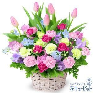 誕生日フラワーギフト 花 ギフト 誕生日 プレゼント花キューピットのチューリップのミックスアレンジメント
