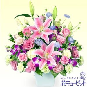 誕生日フラワーギフト 花キューピットのピンクユリのアレンジメント 花 ギフト 誕生日 プレゼント i879
