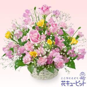 1月の誕生花(スイートピー等) 花キューピットの春のミックスバスケット お祝い 記念日 プレゼント フラワーギフト|i879