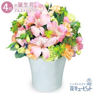 4月の誕生花(アルストロメリア等) 花キューピットのアルストロメリアのエレガントアレンジメント お祝い 記念日 お礼 誕生日 プレゼント|i879
