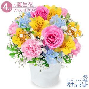 4月の誕生花(アルストロメリア等) 花キューピットのアルストロメリアのカラフルアレンジメント お祝い 記念日 お礼 誕生日 プレゼント|i879