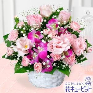 8月の誕生花(トルコキキョウ等) 花キューピットのトルコキキョウとデンファレのアレンジメント 花 ギフト 誕生日 プレゼント|i879