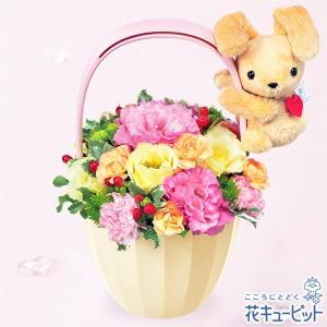 8月の誕生花(トルコキキョウ等) 花キューピットのうさぎのマスコット付きアレンジメント 花 ギフト 誕生日 プレゼント|i879
