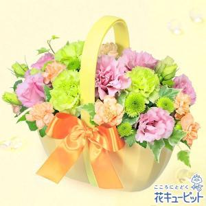 8月の誕生花(トルコキキョウ等) 花キューピットのトルコキキョウのバスケットアレンジメント 花 ギフト 誕生日 プレゼント|i879