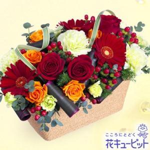 12月の誕生花(赤バラ等) 花キューピットの赤バラのスクエアバスケット 誕生日 お祝い 記念日 プレゼント|i879